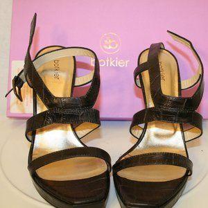 botkier Julia Platform Black Chunk Heel Sandal